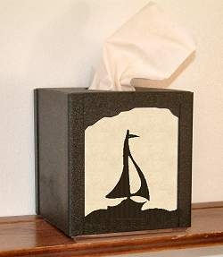 Facial Tissue Box Cover - Sailboat Design