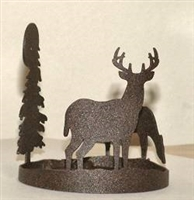 Round Candle Holder - Deer Design