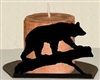 Silhouette Candle Holder - Bear on a Log Design