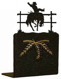 Metal Bookend Set - Bucking Bronco Design