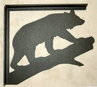 Rustic Cabin Shelf Bracket - Pair- Bear on a Log Design