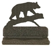 Rustic Metal Business Card Holder - Bear on a Log Design
