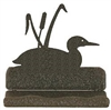 Rustic Metal Business Card Holder - Loon with Cattails Design