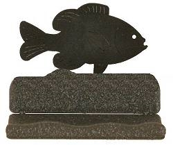 Rustic Metal Business Card Holder - Pan Fish Design