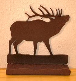 Rustic Metal Business Card Holder - Elk Design