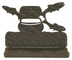 Rustic Metal Business Card Holder - Fly-Rod Fish Design