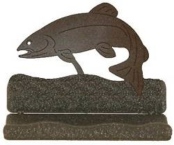 Rustic Metal Business Card Holder - Trout Design