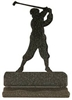 Rustic Metal Business Card Holder - Golfer Design