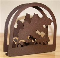 Rustic Napkin/Letter Holder - Oak Leaf Arched Design