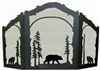Rustic Wildlife Arched or Straight Top Fireplace Screen - Bear Design