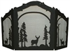 Rustic Wildlife Arched or Straight Fireplace Screen - Deer Design