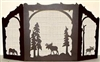 Rustic Wildlife Arched or Straight Top Fireplace Screen - Moose Design