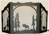 Rustic Wildlife Arched or Straight Top  Fireplace Screen - Moose, Deer, Elk Design