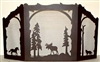 Rustic Wildlife Arched or Straight Top Fireplace Screen - Moose, Horse, Wolf Design
