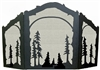 Rustic Wildlife Arched or Straight Fireplace Screen - Tree Design