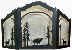 Rustic Wildlife Arched or Straight Top Fireplace Screen - Deer and Elk Design