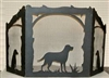 Rustic Wildlife Arched or Straight Top Fireplace Screen - Lab Retriever Design