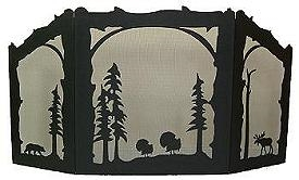 Rustic Wildlife Arched or Straight Top Fireplace Screen - Turkey, Bear, Moose Design