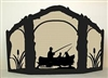 Rustic Wildlife Arched or Straight Top Fireplace Screen - Fisherman Design