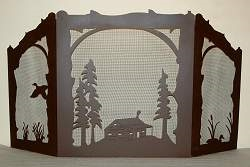 Rustic Wildlife Arched or Straight Top Fireplace Screen - Duck and Cabin Design