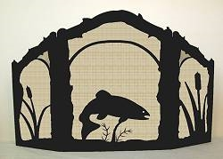 Rustic Wildlife Arched or Straight Top Fireplace Screen - Trout Design