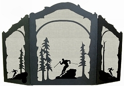 Rustic Wildlife Arched or Straight Fireplace Screen - Skier Design