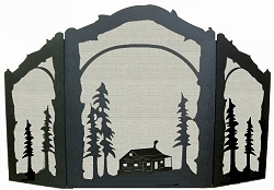 Rustic Wildlife Arched or Straight Fireplace Screen - Cabin Design