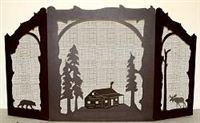 Rustic Wildlife Arched or Straight Top Fireplace Screen - Cabin, Bear, Moose Design