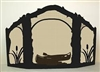 Rustic Wildlife Arched or Straight Top Fireplace Screen - Canoe Design