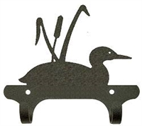 Rustic Wall Mounted Narrow Hook- Loon with Cattails Design