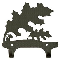 Rustic Wall Mounted Narrow Hook- Oak Leaf Design