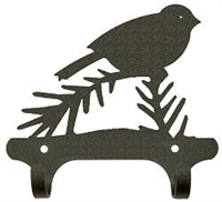 Rustic Wall Mounted Narrow Hook- Chickadee Design