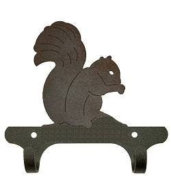 Rustic Wall Mounted Narrow Hook- Squirrel Design