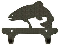 Rustic Wall Mounted Narrow Hook- Trout Design