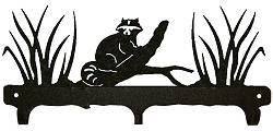 Rustic Wildlife Triple Hook- Raccoon Design
