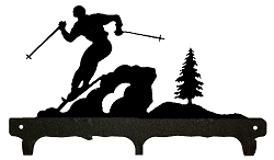 Rustic Wildlife Triple Hook- Skier Design