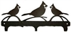 Rustic Wildlife Triple Hook- Cardinal Design