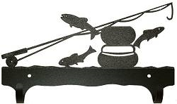 Double Wall Mounted Large Hooks- Fly-Rod Fish Design