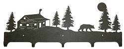 Wildlife Coat Hook- Bear and Cabin Design