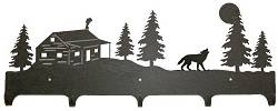 Wildlife Coat Hook- Wolf and Cabin Design