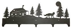 Wildlife Coat Hook- Fox and Cabin Design