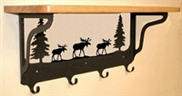 Wooden Shelf with Metal Coat Hooks- Moose Design