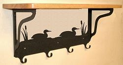 Wooden Shelf with Metal Coat Hooks- Loon Design