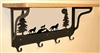 Wooden Shelf with Metal Coat Hooks- Wolf Design