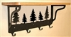 Wooden Shelf with Metal Coat Hooks- Tree Design