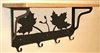 Wooden Shelf with Metal Coat Hooks- Maple Leaf Design