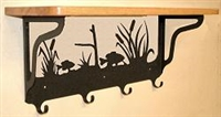Wooden Shelf with Metal Coat Hooks- Pan Fish Design