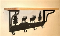 Wooden Shelf with Metal Coat Hooks- Elk Design