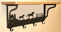Wooden Shelf with Metal Coat Hooks- Horse and Barn Design