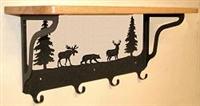Wooden Shelf with Metal Coat Hooks- Bear, Moose, Deer Design